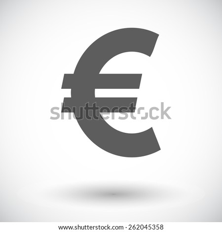 Euro. Single flat icon on white background. Vector illustration. - stock vector