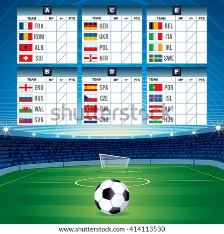 Euro Soccer Table with Qualified National Teams. Vector Image 2016 - stock vector