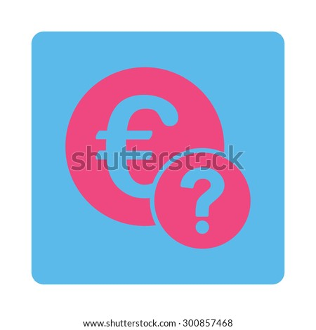 Euro status icon. Vector style is pink and blue colors, flat rounded square button on a white background. - stock vector