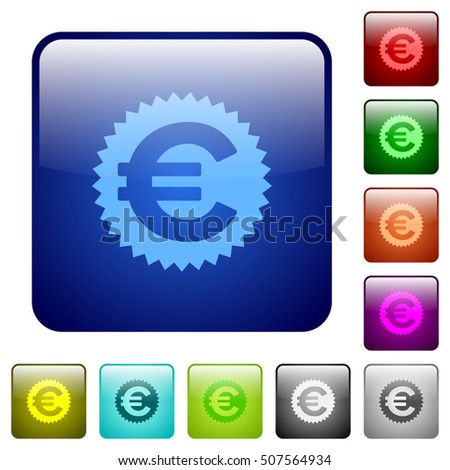 Euro sticker color glass rounded square button set