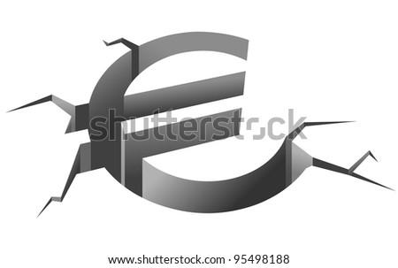 Euro symbol in crash for european crisis concept - stock vector