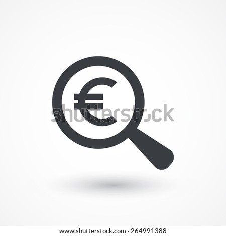 Euro Symbol under a Magnifying Glass - stock vector