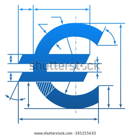 Euro symbol with dimension lines. Element of blueprint drawing in shape of money sign. Qualitative vector (EPS-10) illustration for banking, financial industry, economy, accounting, etc - stock vector