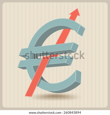 euro symbol with raising arrow sign - stock vector