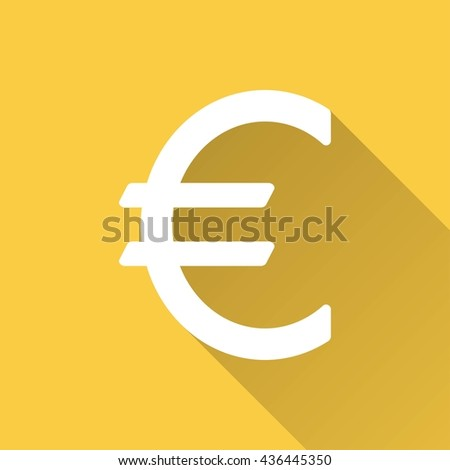 Euro vector icon with long shadow. White illustration isolated on yellow background for graphic and web design. - stock vector