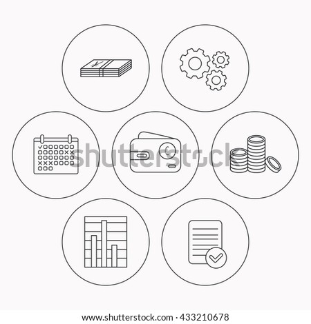 Euro wallet, cash money and chart icons. Coins linear sign. Check file, calendar and cogwheel icons. Vector - stock vector