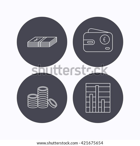 Euro wallet, cash money and chart icons. Coins linear sign. Flat icons in circle buttons on white background. Vector - stock vector