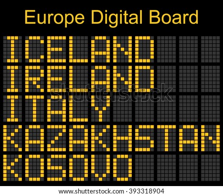 Europe airport digital boarding for Iceland-Ireland-Italy-Kazakhstan-Kosovo