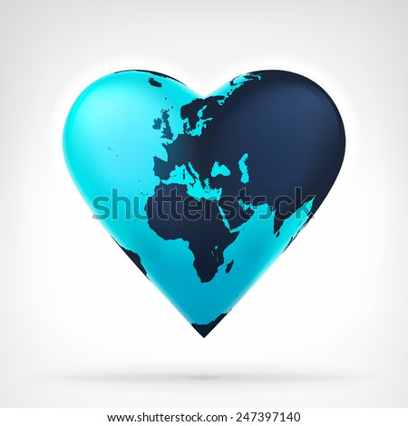 Europe and Africa earth globe shaped as heart at modern graphic design isolated vector illustration on white background  - stock vector