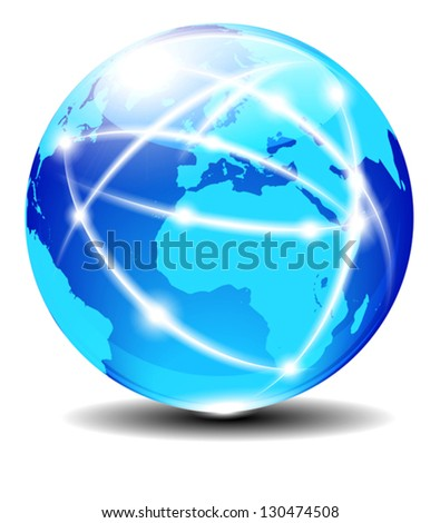 Europe and Africa, Global Communication Planet Data across the world with light lines - Elements of this image furnished by NASA - The map was traced manually using the pen tool for maximum detail - stock vector