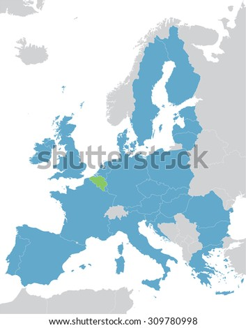 Europe and European Union map with indication of Begium