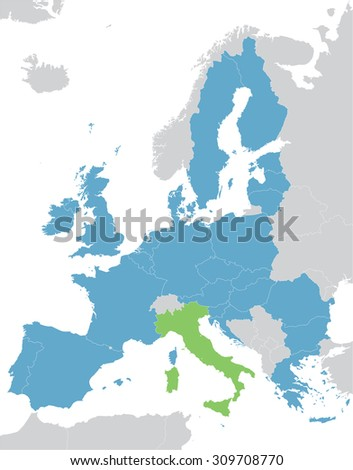 Europe and European Union map with indication of Italy