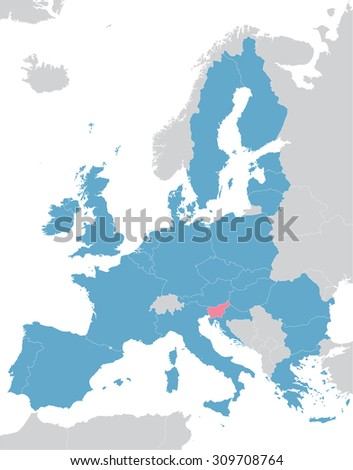 Europe and European Union map with indication of Slovenia