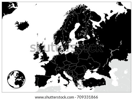 Europe Black Map No Text Detailed Stock Vector 709331866