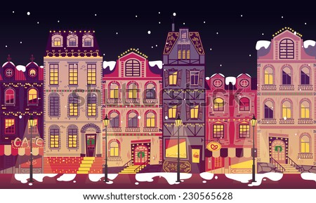 Europe city houses at Christmas night vector - stock vector