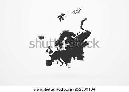 Europe Continent Black Map - stock vector