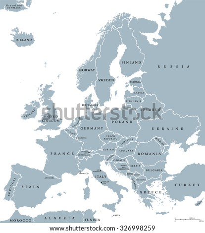 Europe countries political map national borders stock vector europe countries political map with national borders and country names english labeling and scaling gumiabroncs Images
