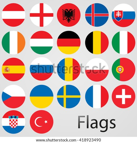 Europe countries vector flags.UEFA teams. 22 flags. Vector illustration. - stock vector