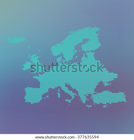Europe dotted map on blue background, vector illustration. - stock vector