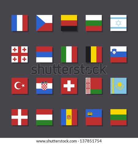 Europe flag icon set Metro style vector illustration - stock vector