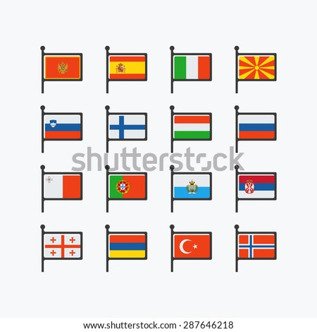 Europe flags, set of vector flat icons, part 3. - stock vector