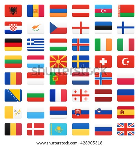 Europe flags. Vector icons set.