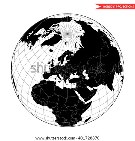 Europe globe hemisphere. World view from space icon. - stock vector