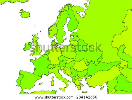 Europe green vector political map with state borders