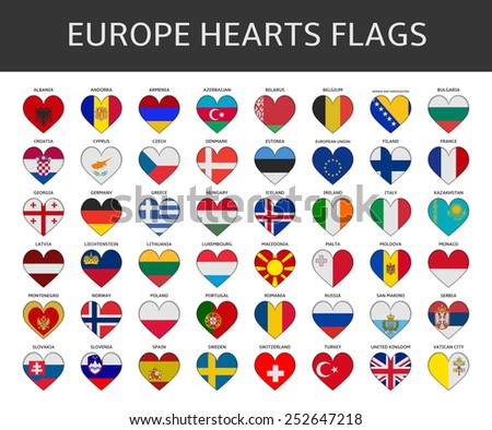 europe hearts flags vector