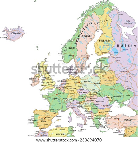Europe - Highly detailed editable political map with separated layers. - stock vector