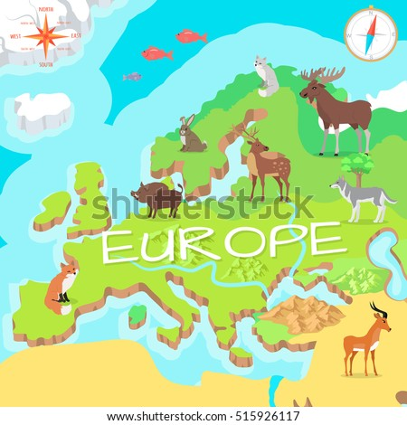 Europe isometric map with flora and fauna cartography concept with