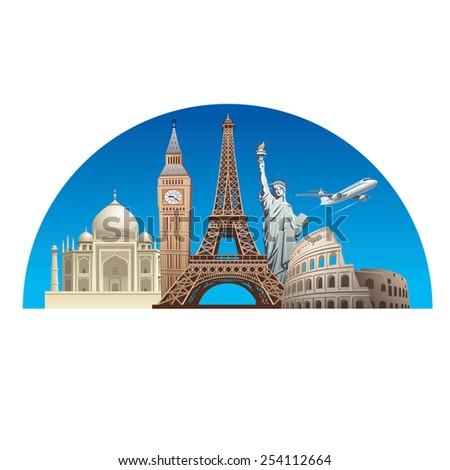 europe landmarks - stock vector