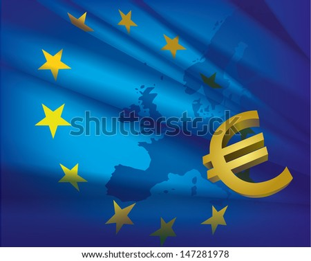 Europe map and flag and euro - beautiful abstract blue collage background.