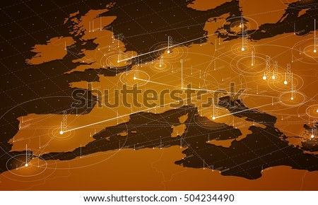 Europe map big data visualization. Futuristic map infographic. Information aesthetics. Visual data complexity. Complex europe data graphic visualization. Abstract data on map graph.