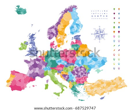 Europe map colored by countries with regions borders.  Navigation, location and travel icons collection.  Vector