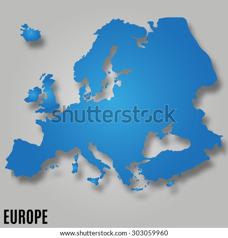 EUROPE MAP continent VECTOR wit shadow illustration - stock vector