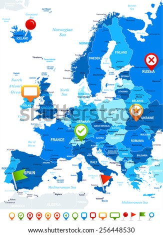 Europe map - highly detailed vector illustration Image contains next layers: - land contours - country and land names - city names - water object names