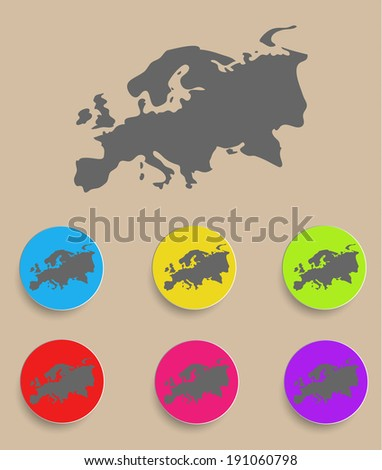 Europe Map - icon isolated. Vector illustration - stock vector