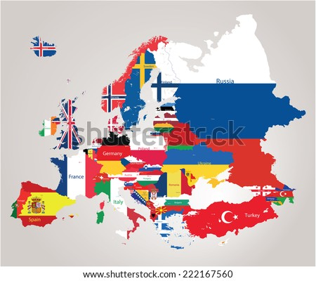 Europe map jointed with country flags - stock vector