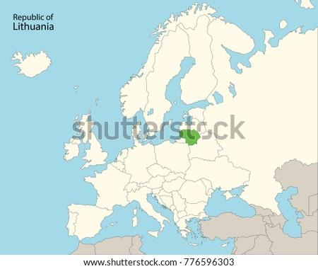 Europe Map Lithuania Stock Vector 776596303 Shutterstock
