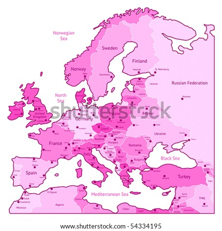 Europe map of pink colors. Names, town marks and national borders are in separate layers. Vector illustration. - stock vector