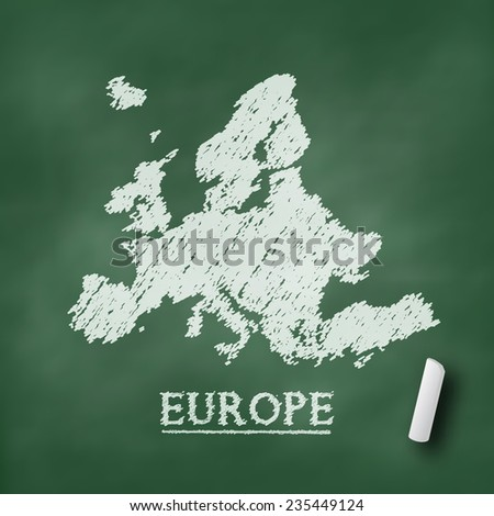 Europe map on chalkboard green in vector format - stock vector