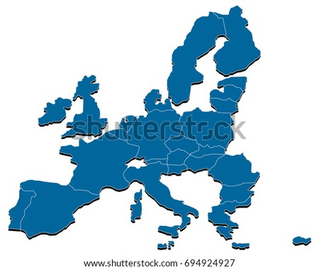 Europe Map Outline Isolated on White Background with National Borders. Vector Illustration