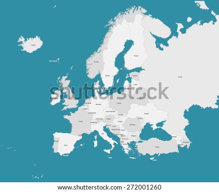 Europe Map with Borders & Countries - stock vector