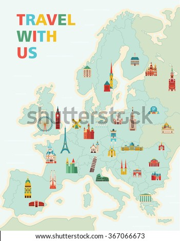 Us Map Tourism Globalinterco - Us map with famous landmarks