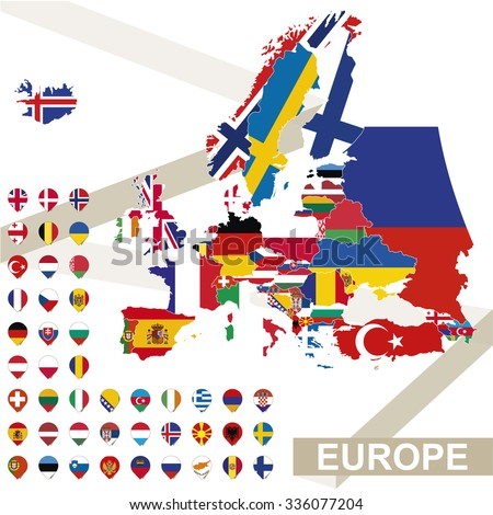 Europe map with flags, Europe map colored in with their flag. Vector Illustration. - stock vector