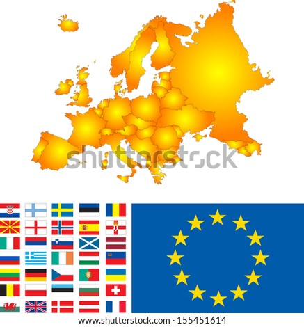 Europe map with flags vector image - stock vector