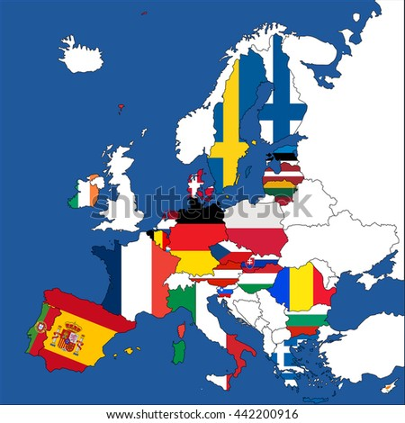 europe map with the european union member states without uk vector illustration