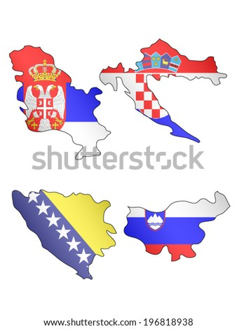 Europe Maps with Flags 12 EPS 10