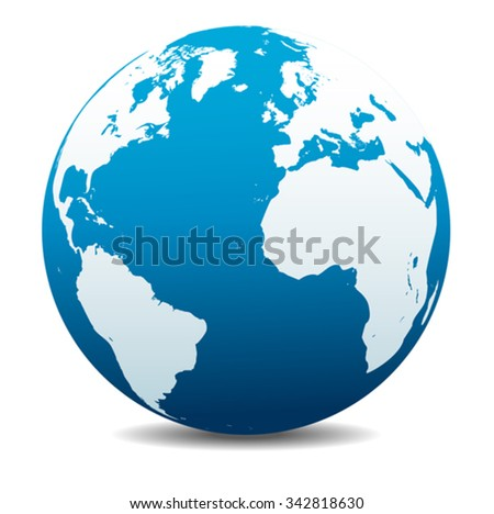 Europe, North and South America, Africa Global World - stock vector